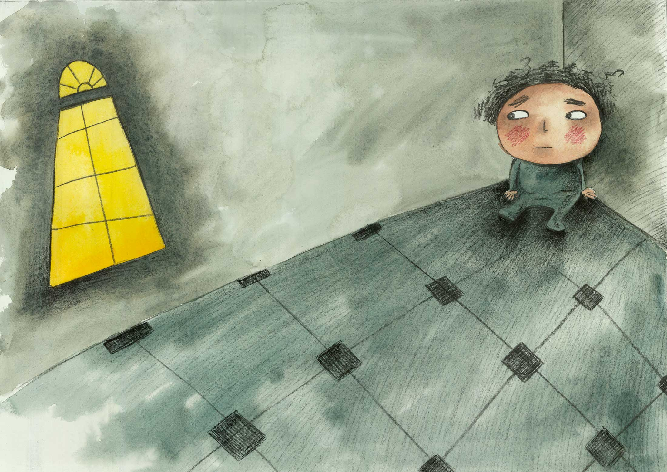 From Tomorrow, Nadine's most recent picture book about a Syrian boy struggling to make sense of his country's conflict.