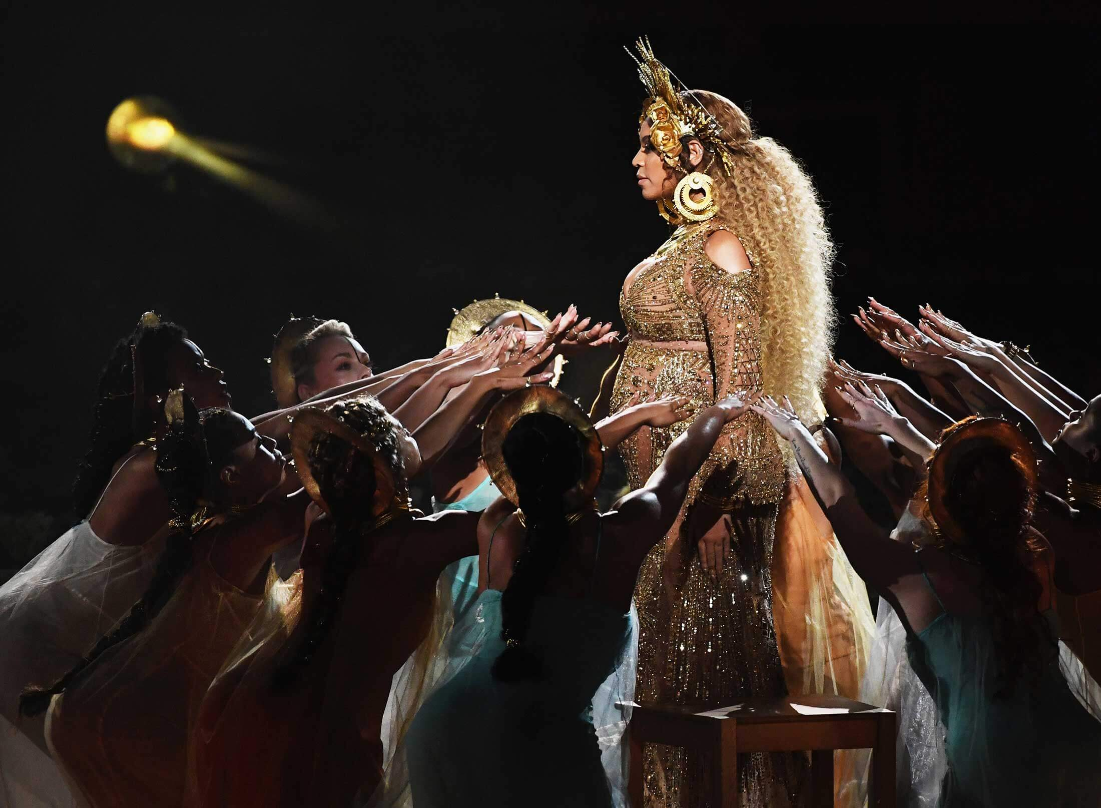 Beyonce, (Kevin Winter / Getty). <br/> Beyoncé invokes religious iconography for her 2017 performance at the Grammy Awards.