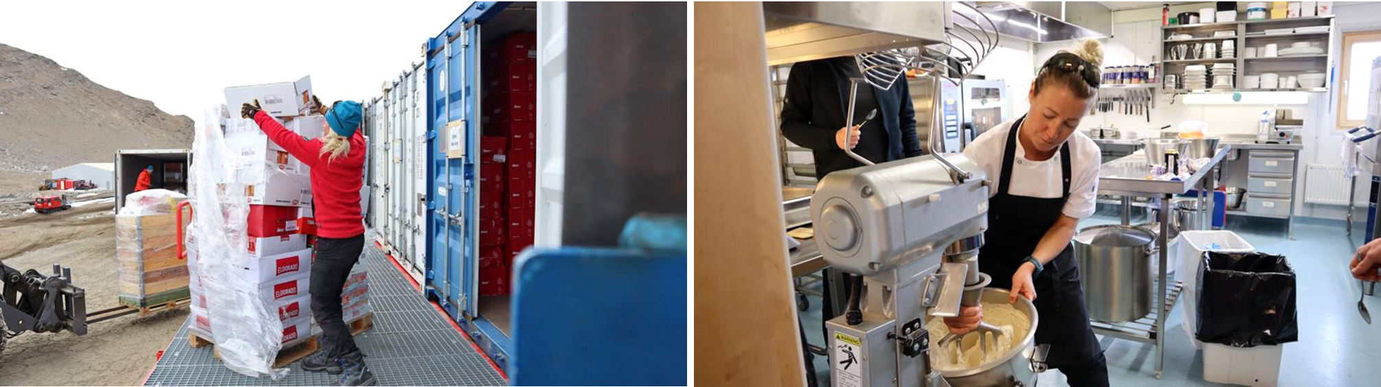 Left: Jansdotter receives the station's annual shipment of dry, frozen and refrigerated food from Norway in January 2020. Right: Jansdotter makes apple and cinnamon ice cream during the summer season with liquid nitrogen for the base. The liquid nitrogen allows you to make ice cream in an instant. (Photos: Alexander Sola)